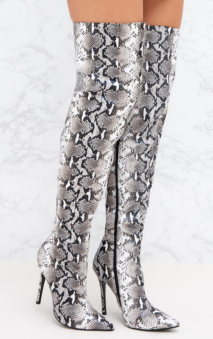 Grey Snake Pointed Over The Knee Boot