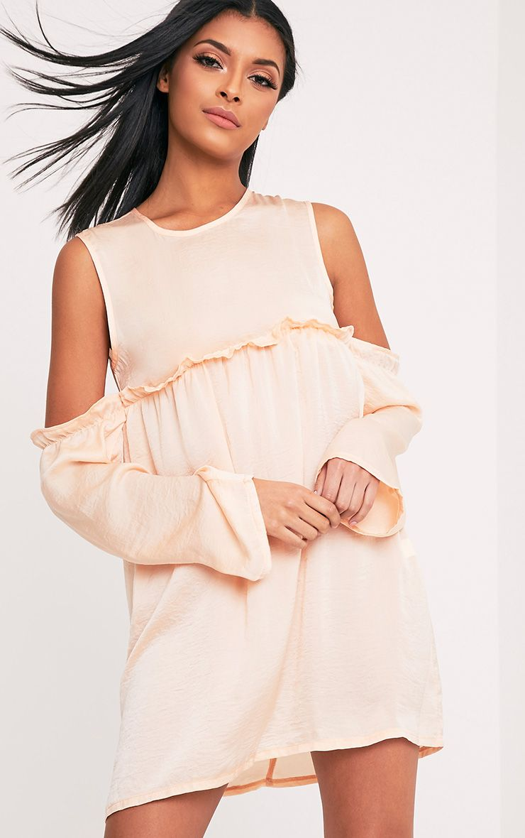 Kylissa Blush Cold Shoulder Satin Swing Dress