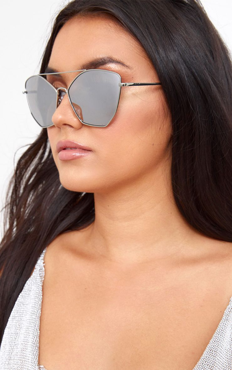 Silver Streched Hexagon Mirrored Sunglasses