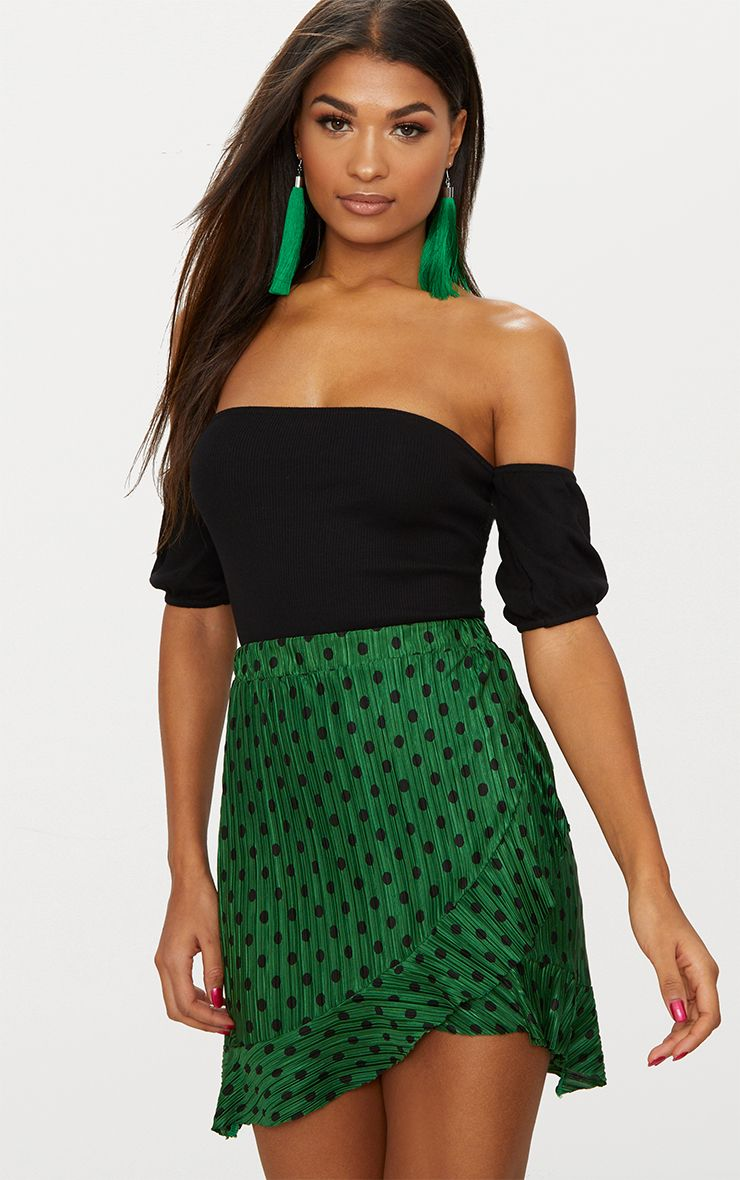 Green Plisse Polka Dot Frill Wrap Mini Skirt