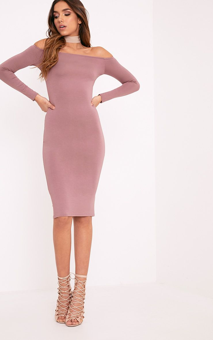 Basic Truffle Jersey Bardot Midi Dress