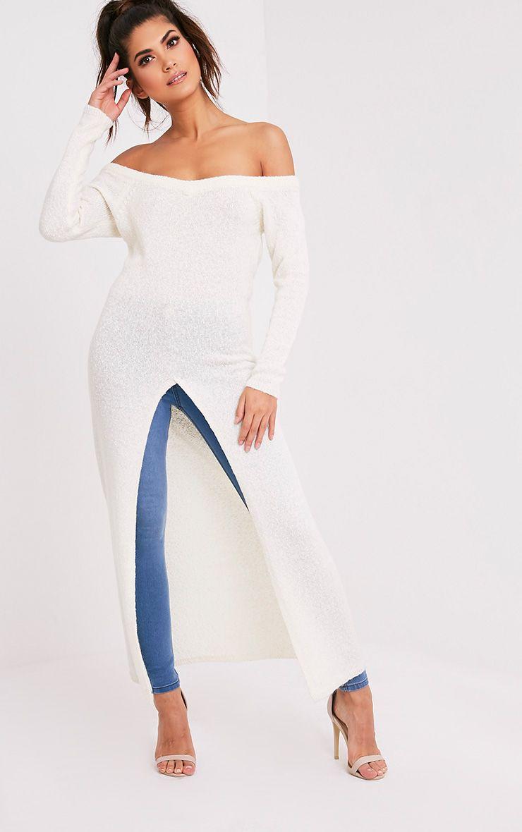 Dyanie robe pull fendu sur le devant crème 6