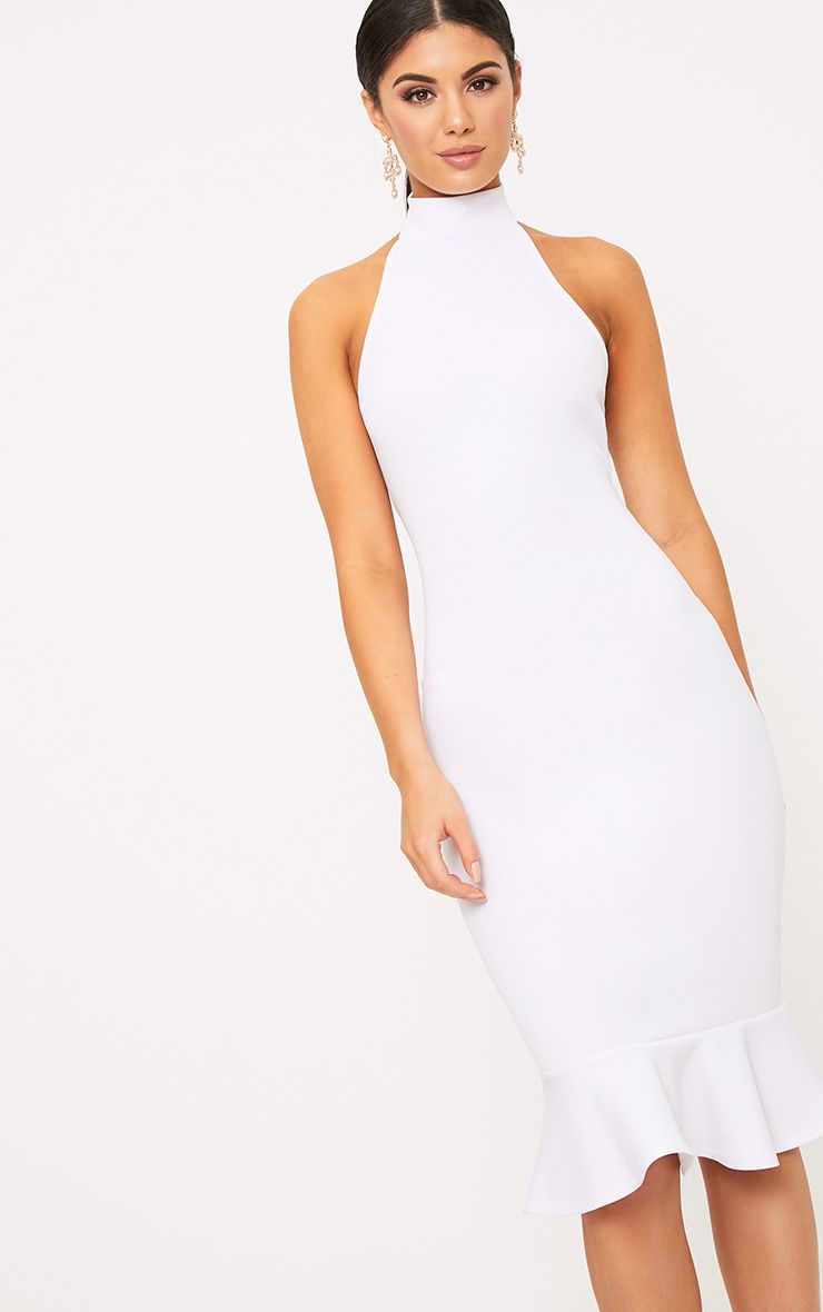 White High Neck Frill Hem Midi Dress