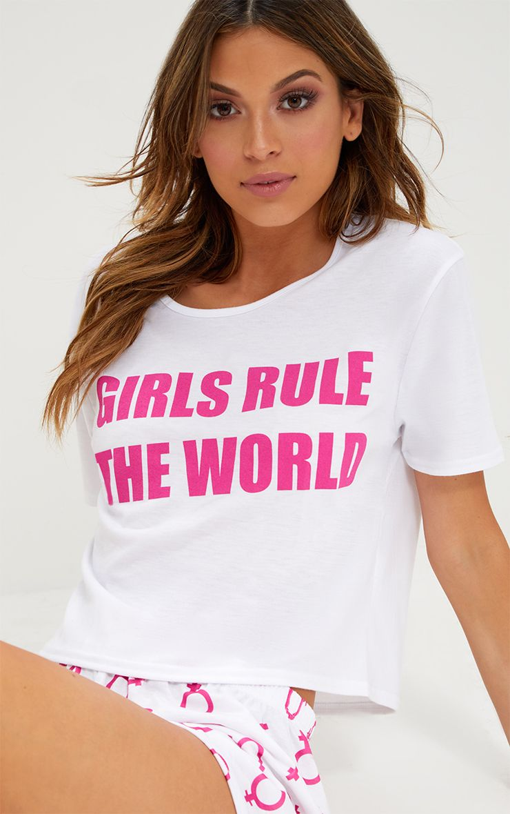 Hot Pink Girls Rule The World PJ Set