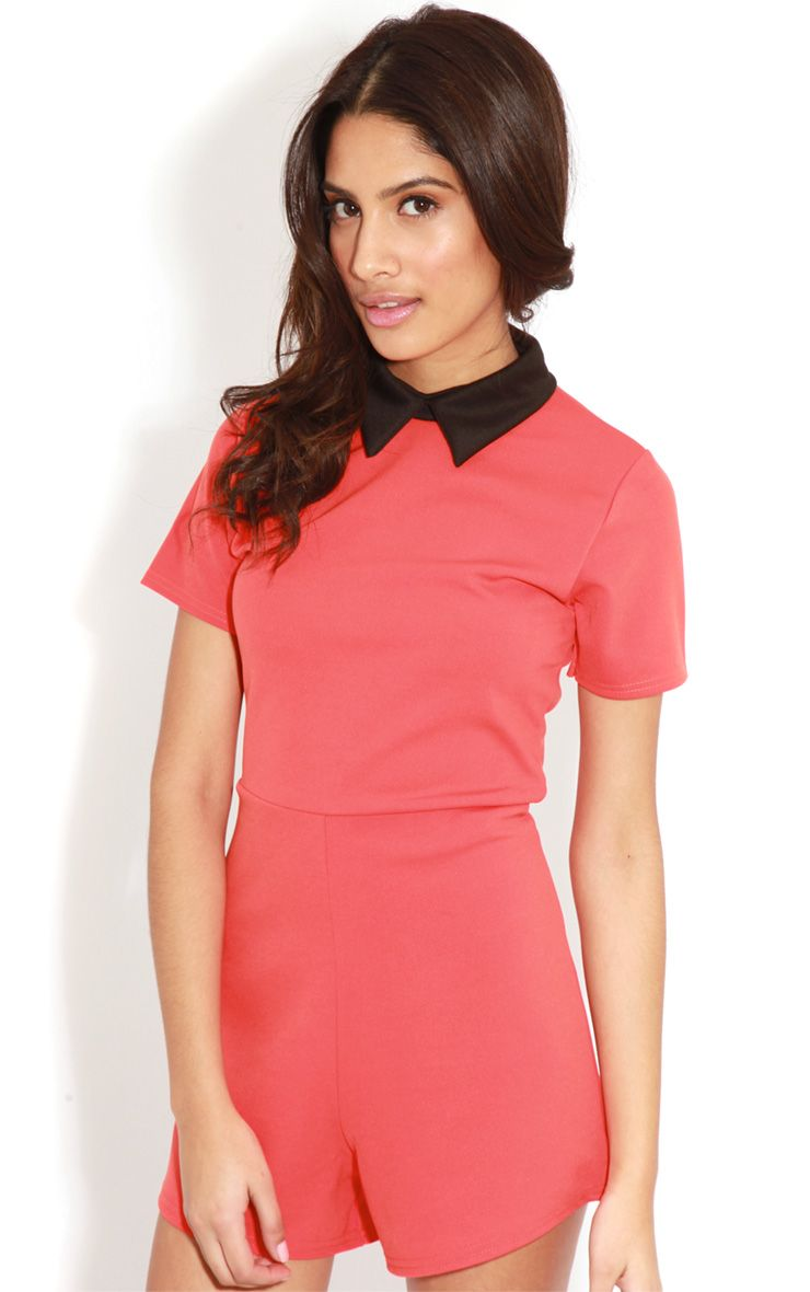 Edie Orange Playsuit With Black Collar Detail-M/L 1