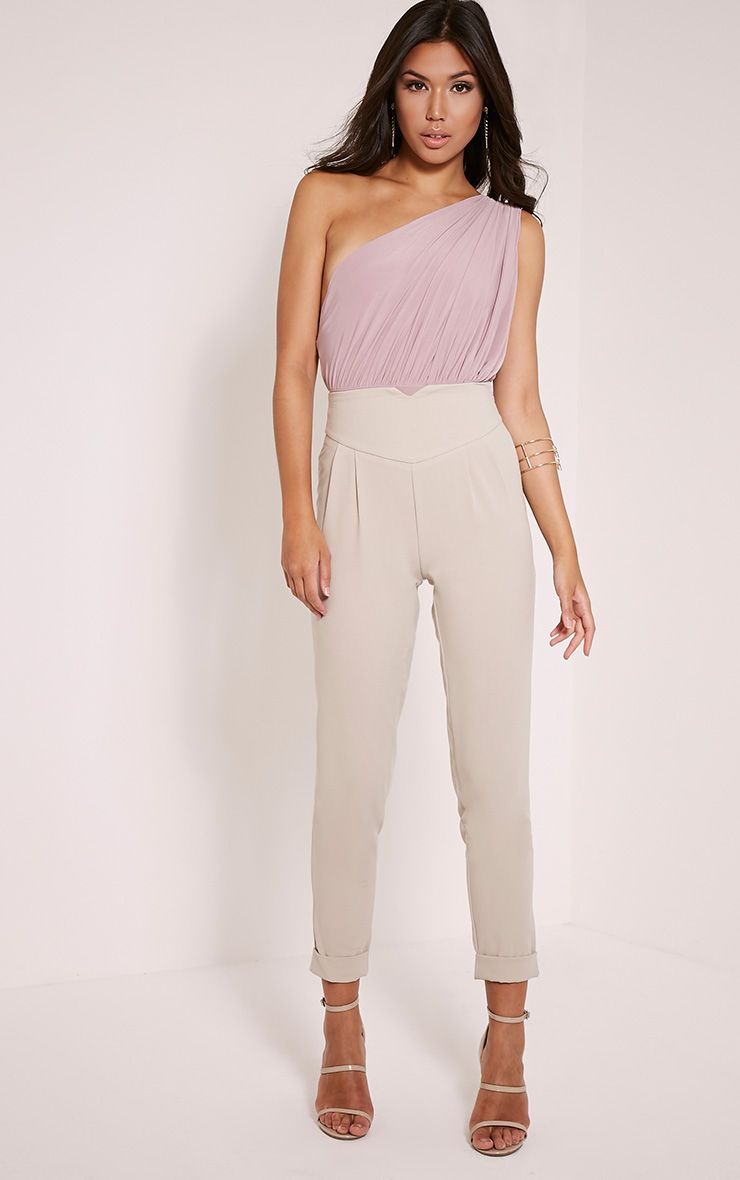 Petite Elenor Stone High Waisted Tapered Trousers