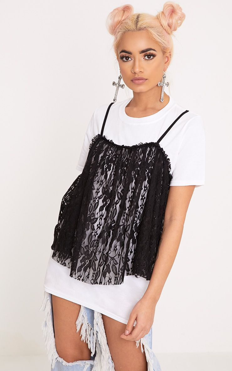 Eisley White Plain Eyelash Lace Oversized T Shirt