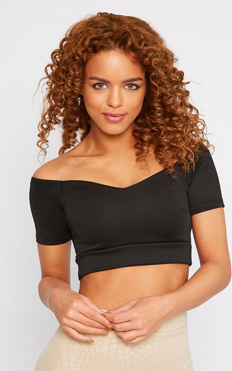 Amie Black Off Shoulder Scuba Crop Top  1