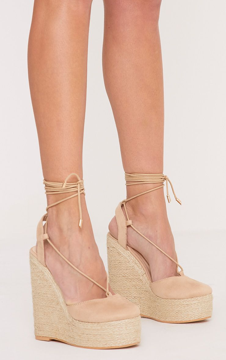 Aniesha Nude Faux Suede Tie Ankle Wedges