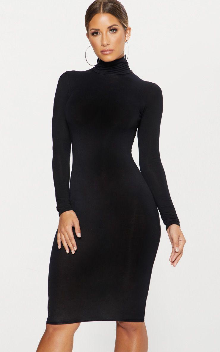 Basic robe midi noire à col roulé 1