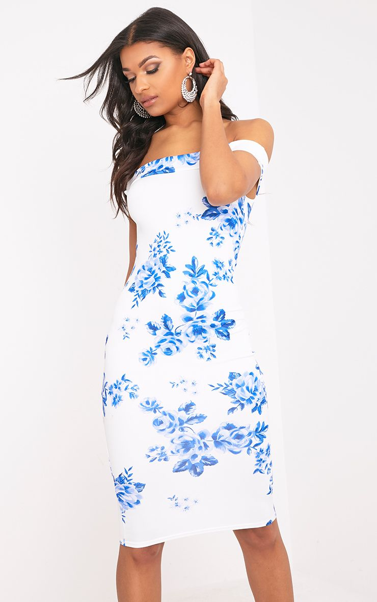 Taniya White Floral Bardot Midi Dress