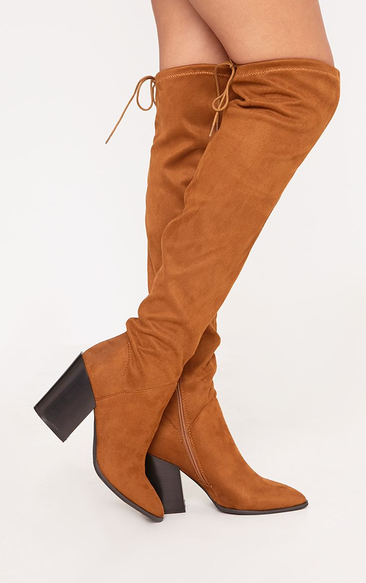 Ayesha Tan Faux Suede Thigh High Western Boots