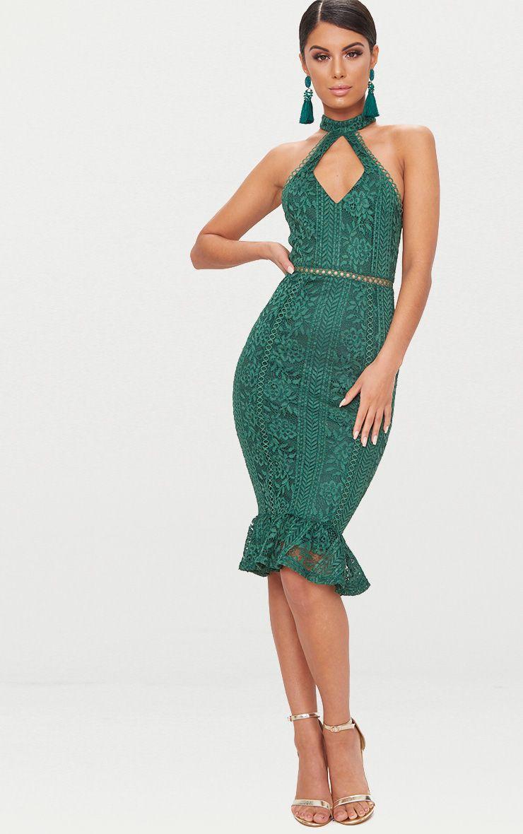 Emerald Green Lace Cut Out Frill Detail Midi Dress