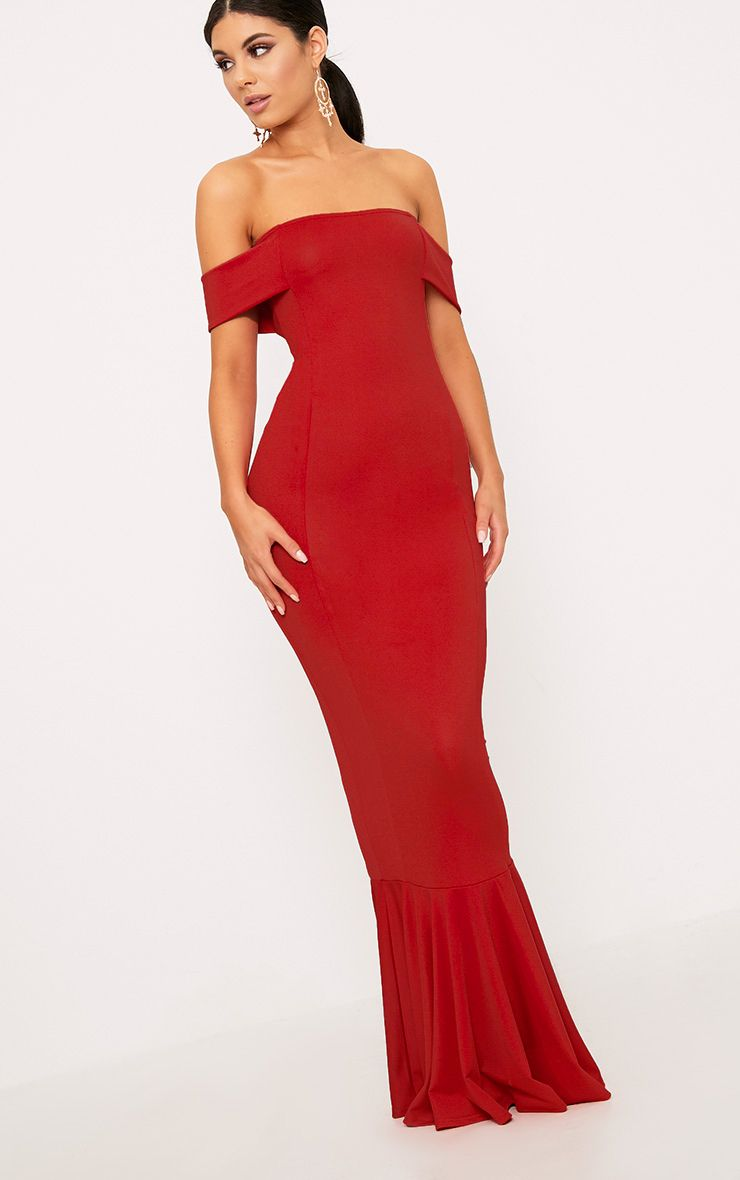 Red Bardot Frill Hem Maxi Dress