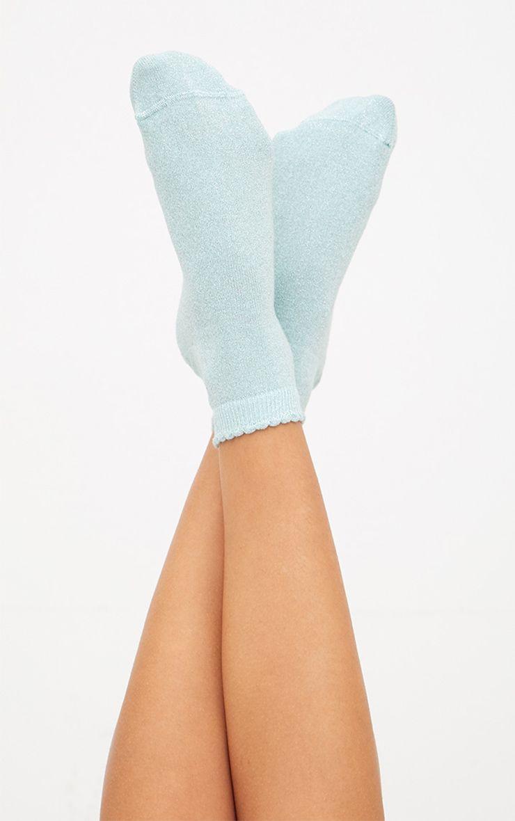 Mint Glitter Lurex Frill Ankle Socks 1