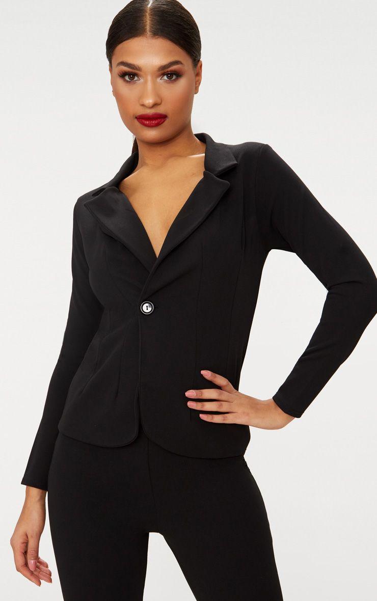 Black Button Detail Longline Blazer