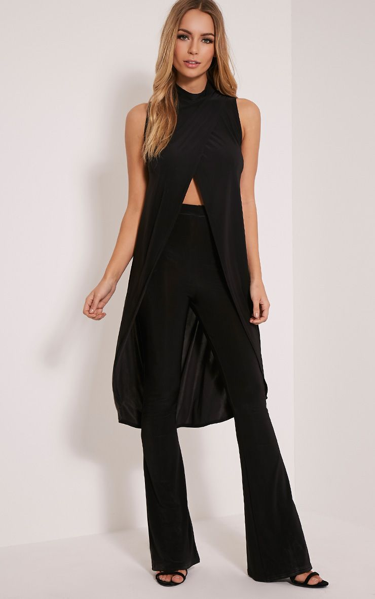 Haylee Black Slinky Longline Wrap Top 1