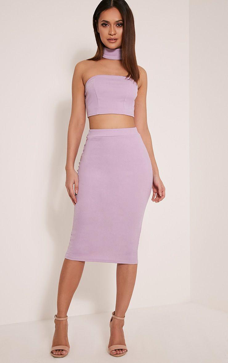 Lacy Mauve Crepe Midi Skirt 1