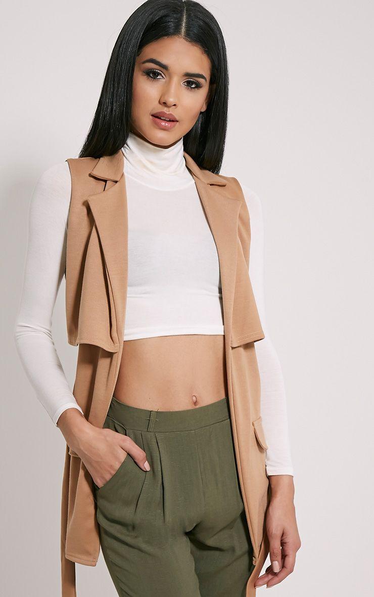 Tallulah Camel Belted Sleeveless Jacket 1