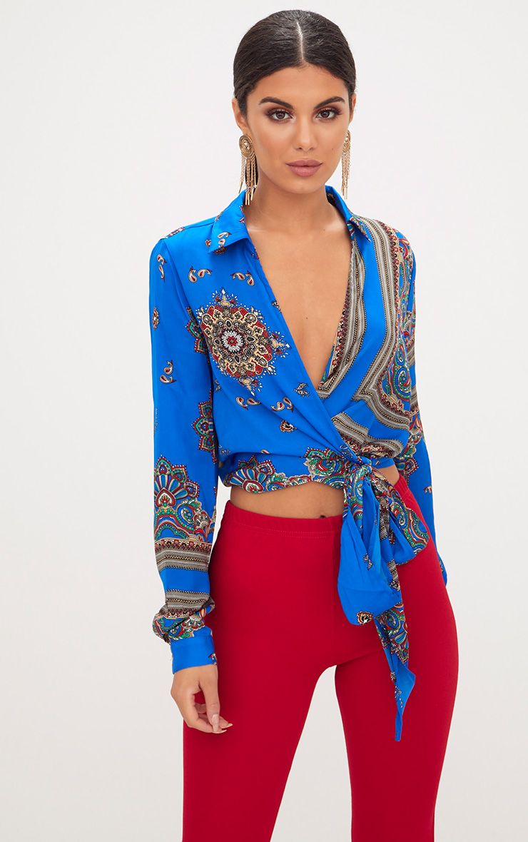 Blue Satin Paisley Print Wrap Front Tie Side Blouse
