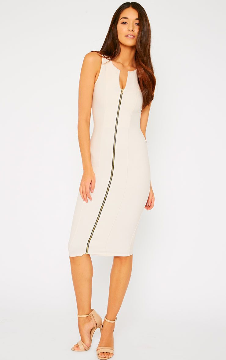 Bradie Nude Zip Front Bodycon Midi Dress 1