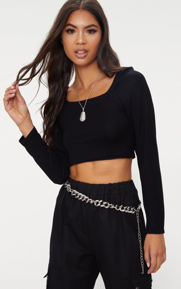 Basic Black Jersey Square Neck Long Sleeve Crop Top