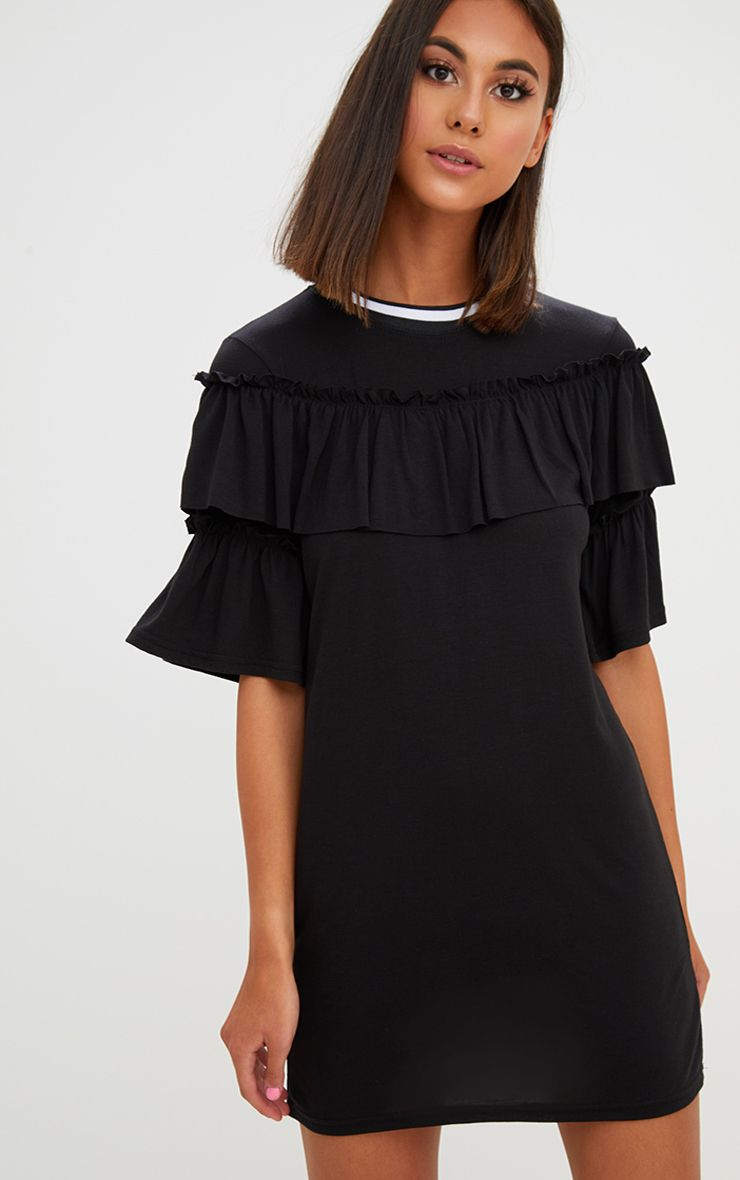 Black Frill Sweater Dress
