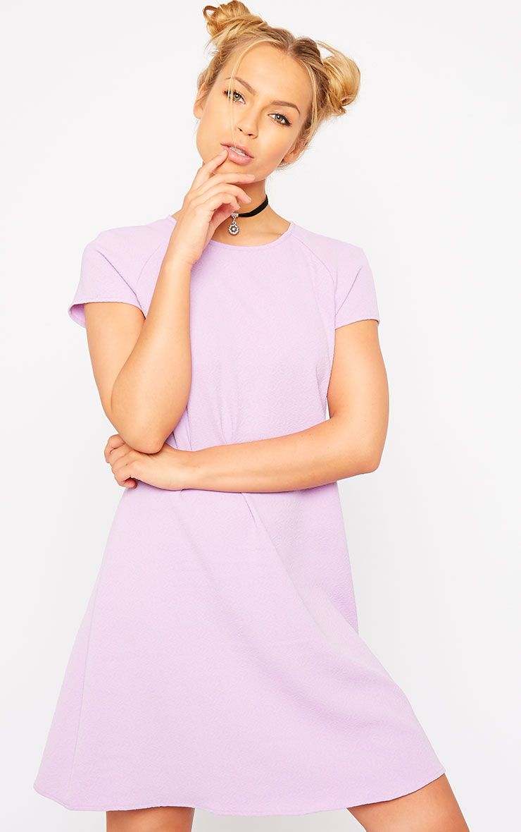 Sabra Lilac Waffle Loose Fit Shift Dress 1