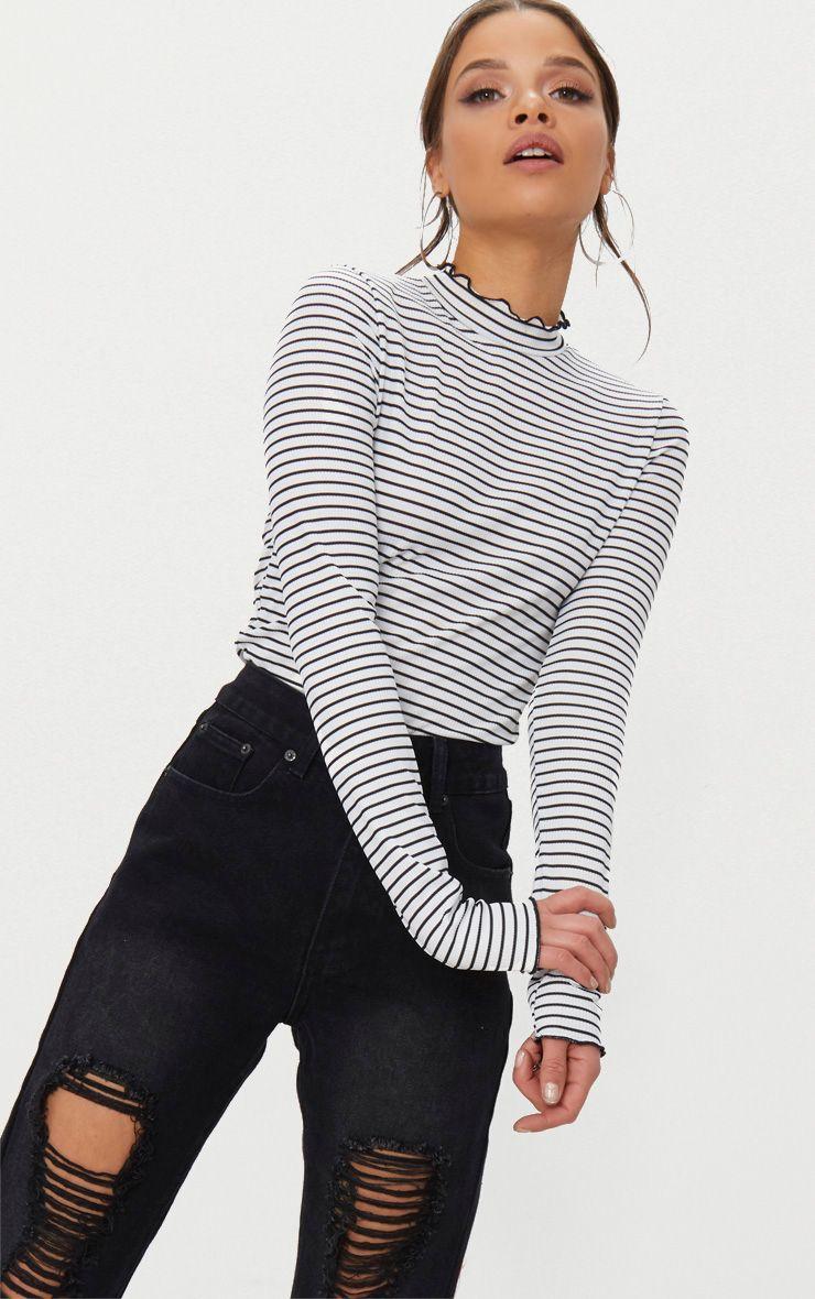 White Stripe Frill Edge High Neck Top