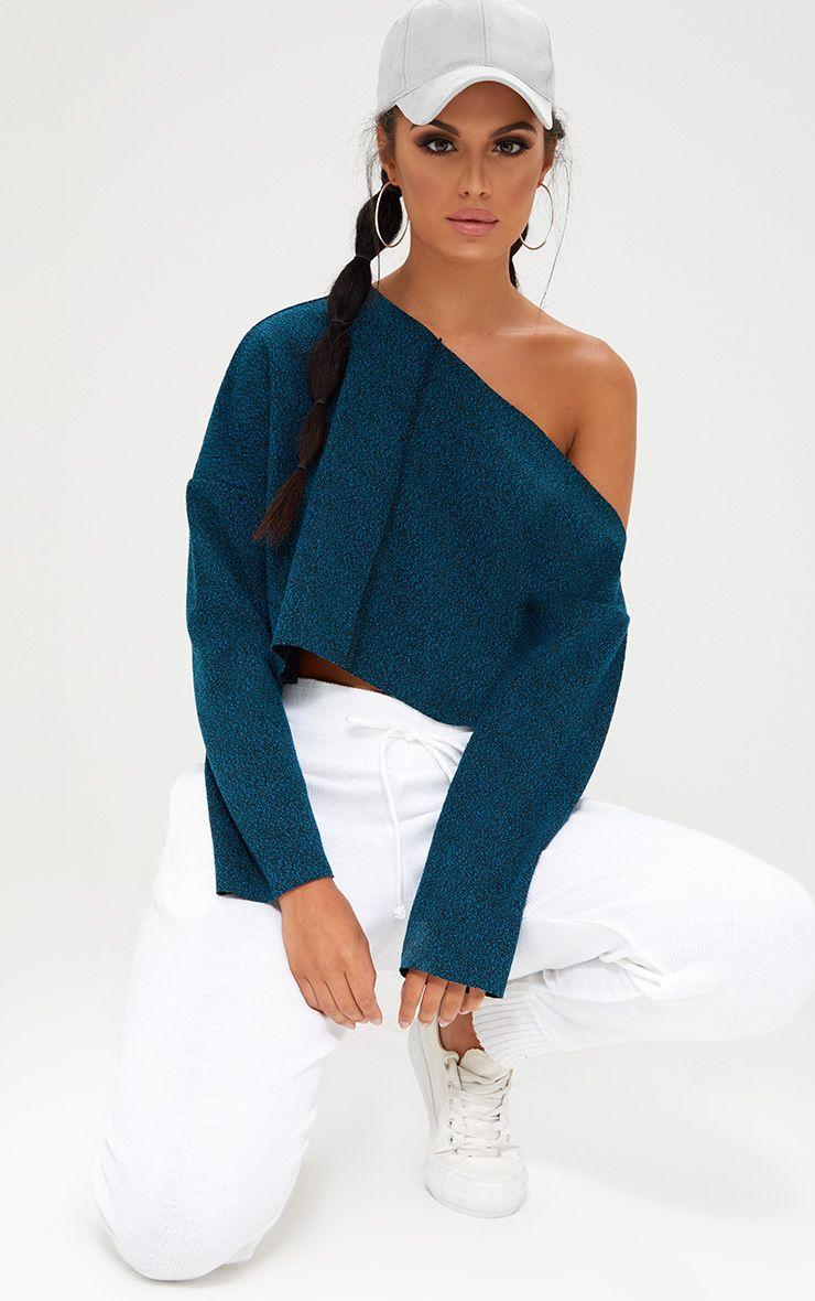 Navy Marl Off Shoulder Sweater