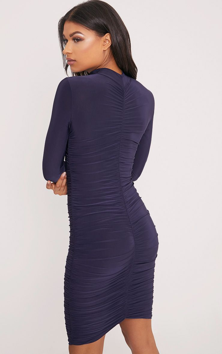 Niyah Navy Slinky Ruched Midi Dress