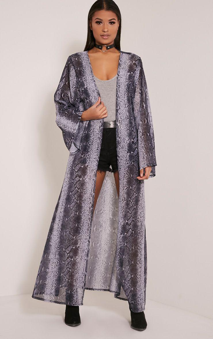 Product photo of Xalia snakeskin sheer kimono grey