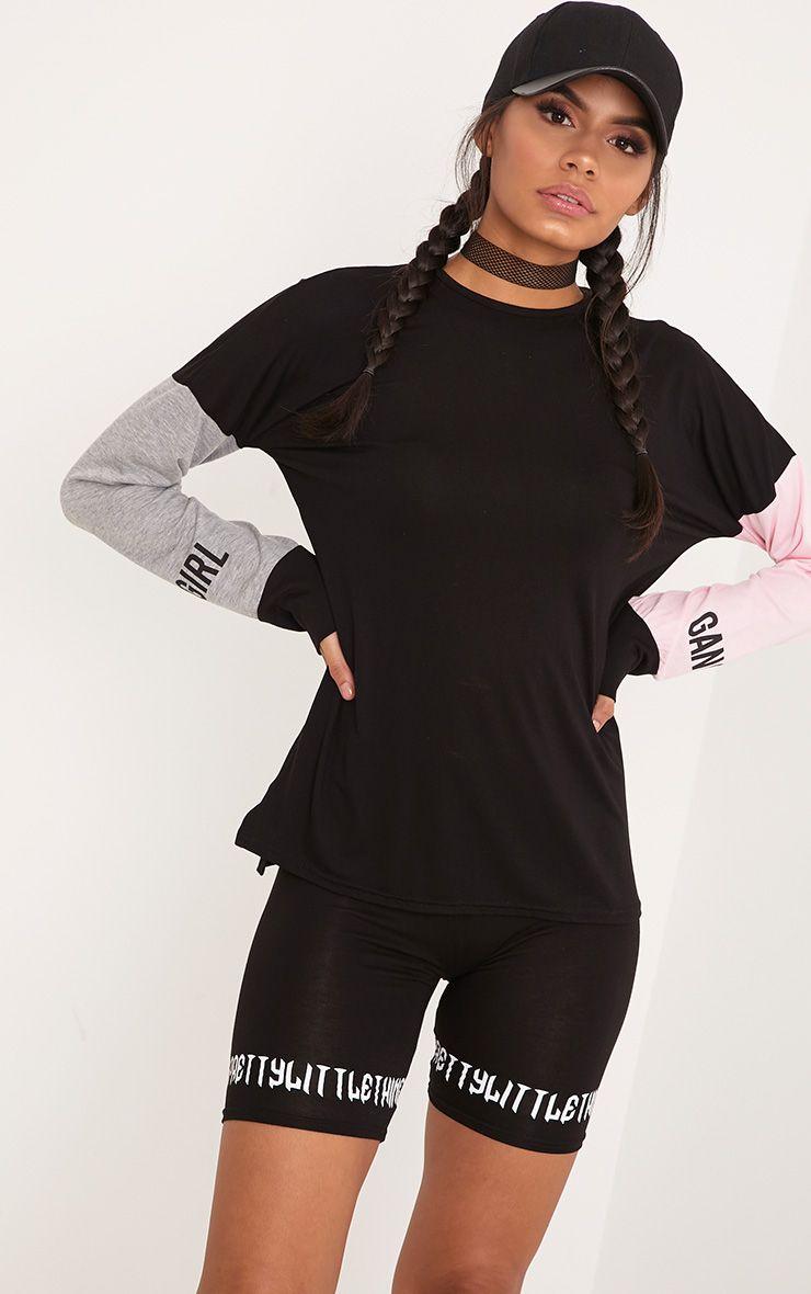 GIRL GANG  Black Slogan Print Sleeve Top  1