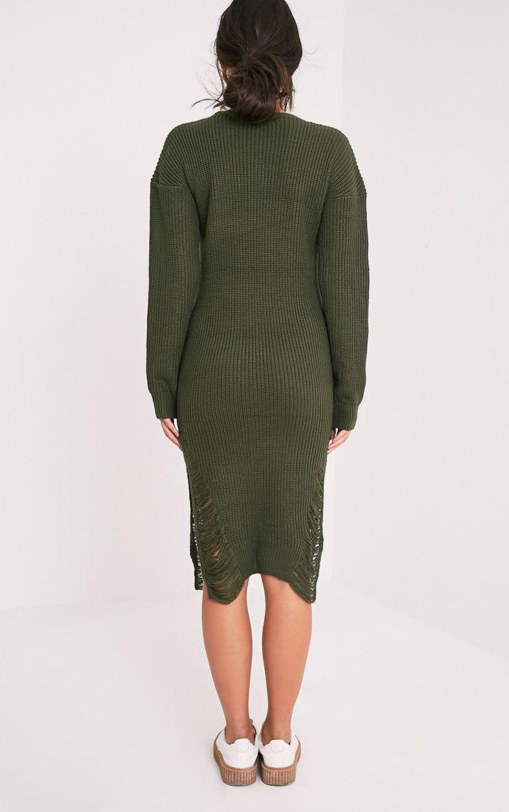 Kionae robe tricotée surdimensionnée effilochée kaki 3