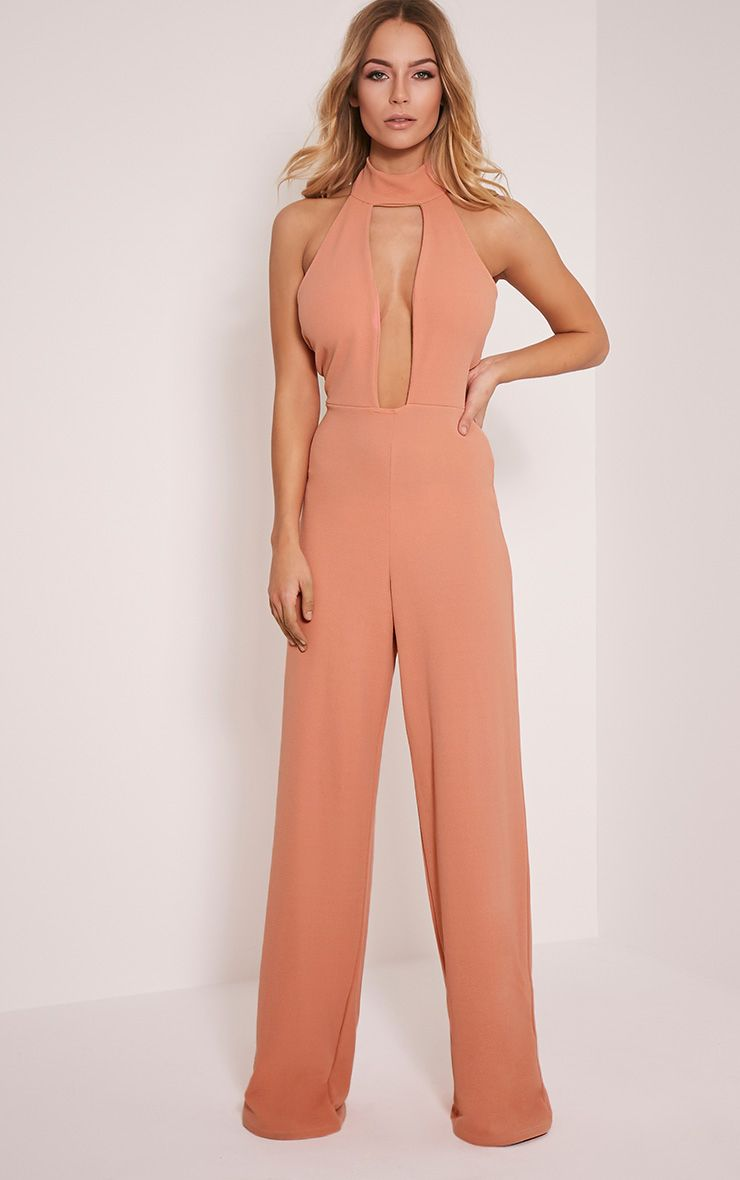 Farah Rose Neck Detail Extreme Plunge Jumpsuit 1