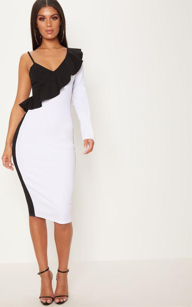 White One Shoulder Frill Detail Colour Block Midi Dress