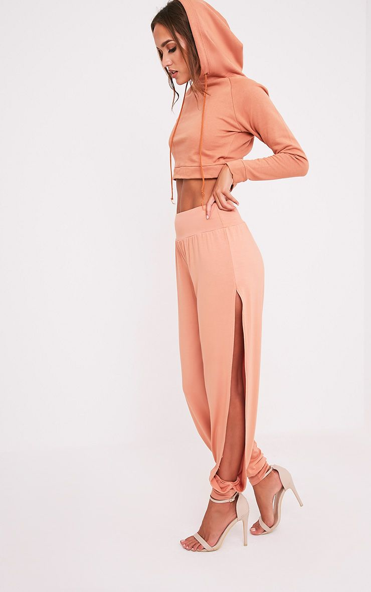 Chasity Peach Split Side Jersey Trousers 1