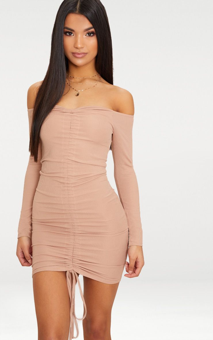 Taupe Ribbed Long SLeeve Bardot Ruched Bodycon Dress