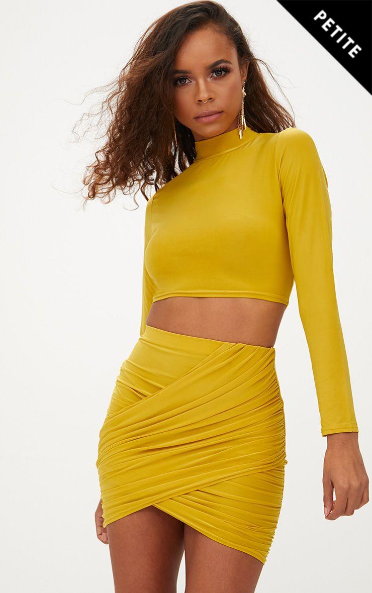 Petite Mustard Slinky Wrap Detail Mini Skirt