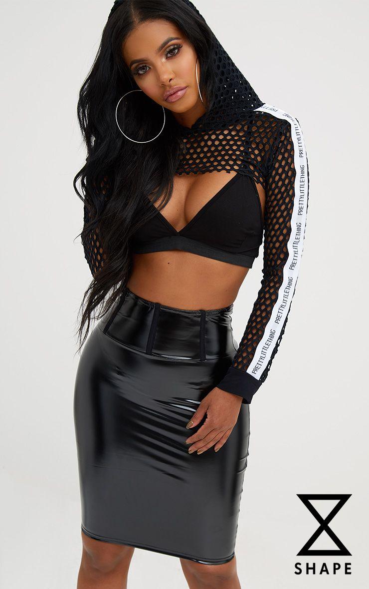 Shape Black High Waist Vinyl Mini Skirt