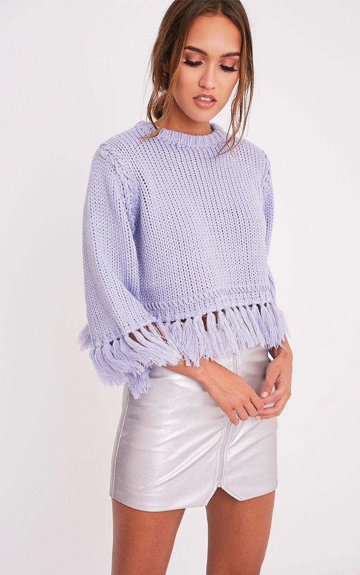 Shelia pull tricoté court à franges bleu cendré 1