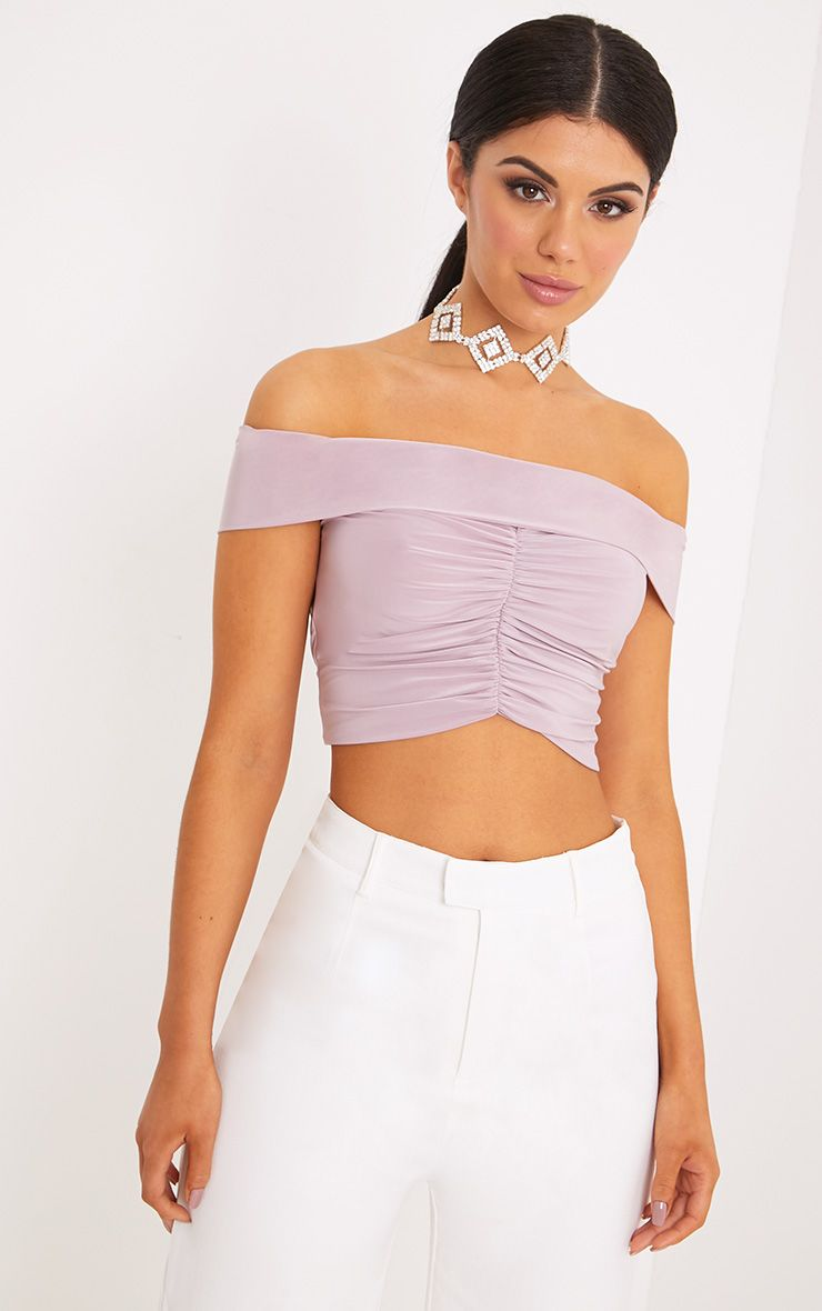 Mylene Lilac Ruched Bardot Crop Top