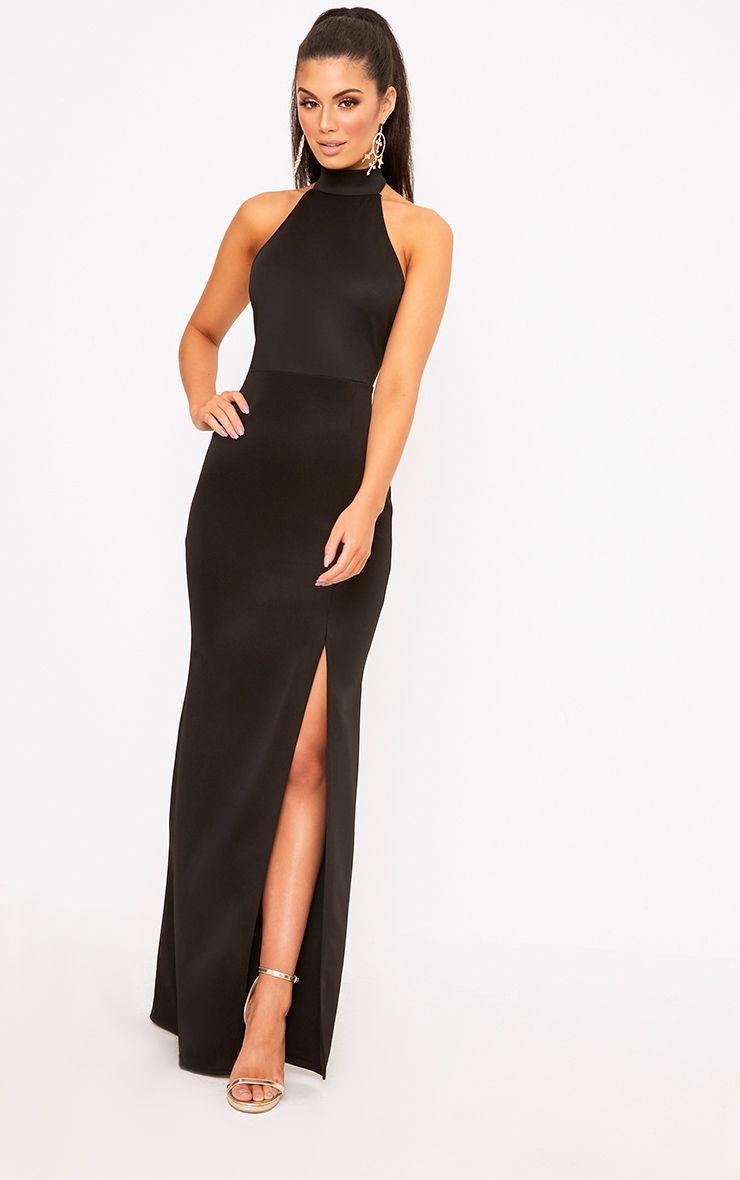 Black High Neck Maxi Dress