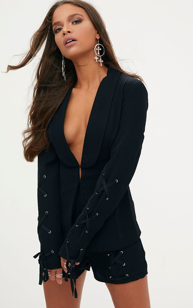 Black Lace Up Sleeve Blazer
