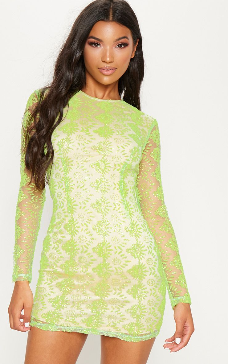 NEON GREEN SEQUIN MESH LONG SLEEVE BODYCON DRESS