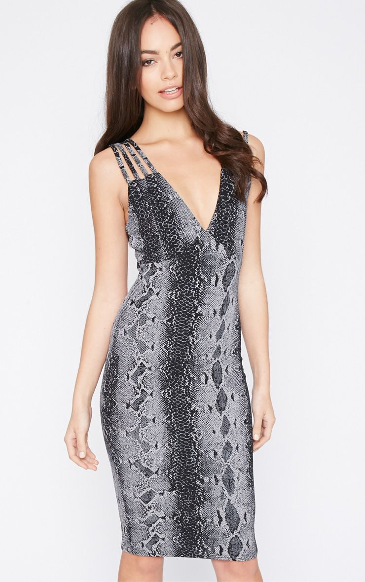 Candis Charcoal Snake Print Midi Dress 1