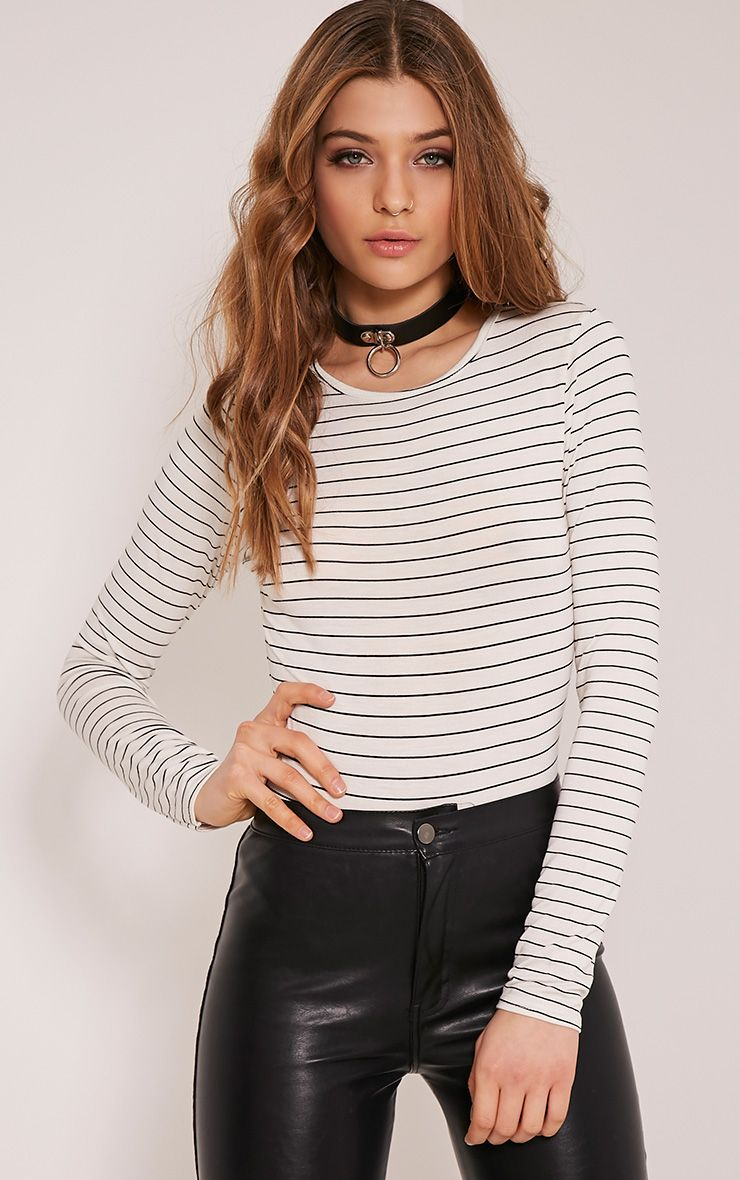 Gracey Cream Stripe Long Sleeve Bodysuit 1