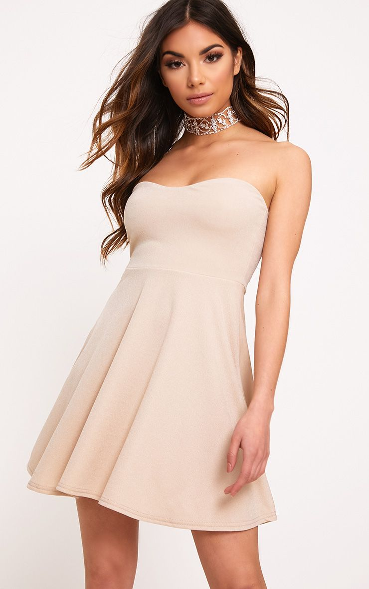 Nude Bandeau Skater Dress