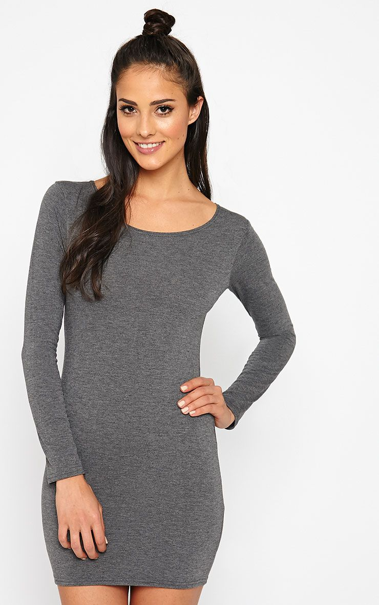 Basic Charcoal Long Sleeve Jersey Mini Dress 1