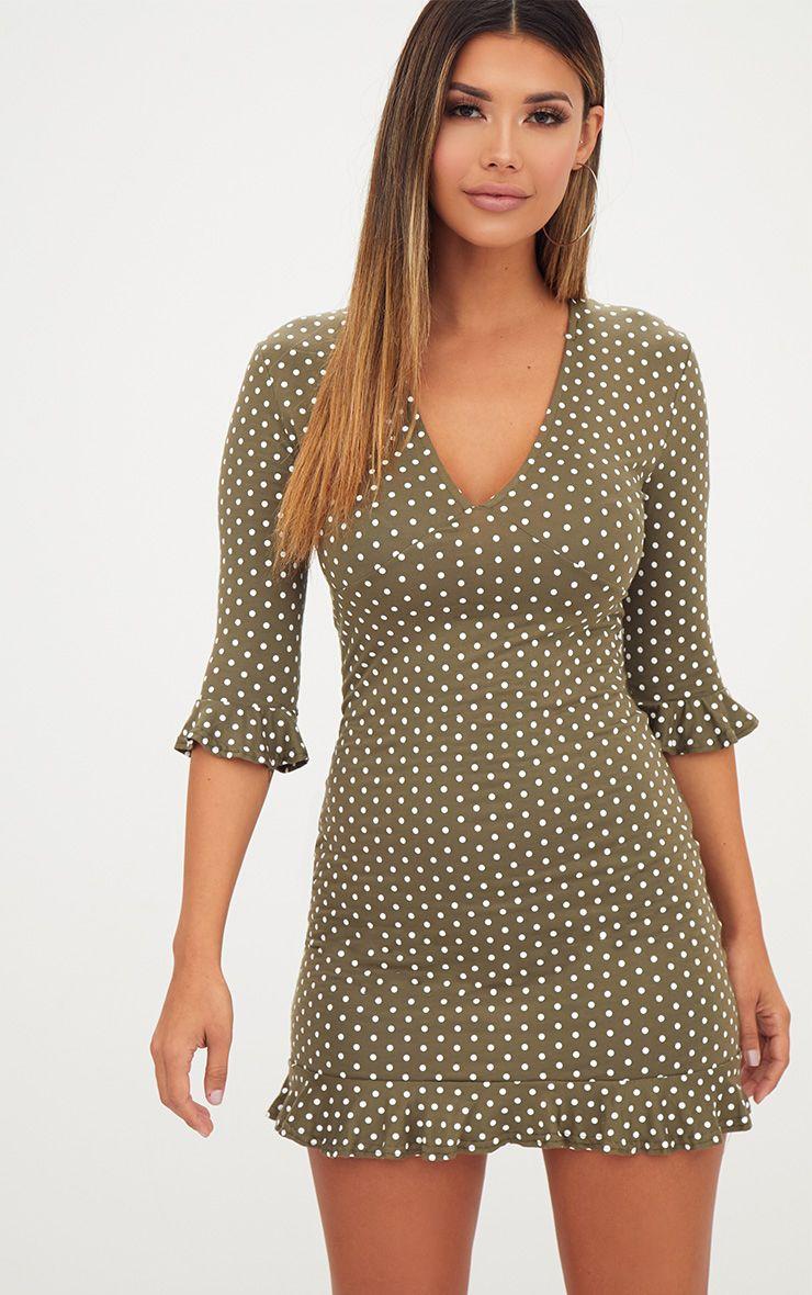 Khaki Polka Dot Frill Hem Shift Dress
